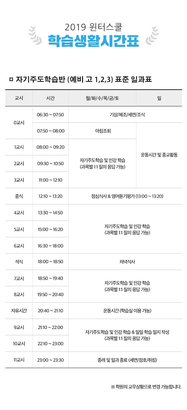 2019 윈터스쿨 시간표 mobile